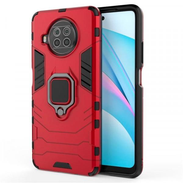 Защитный бампер IronMan для Xiaomi Mi 10T Lite с кольцом-держателем Красный
