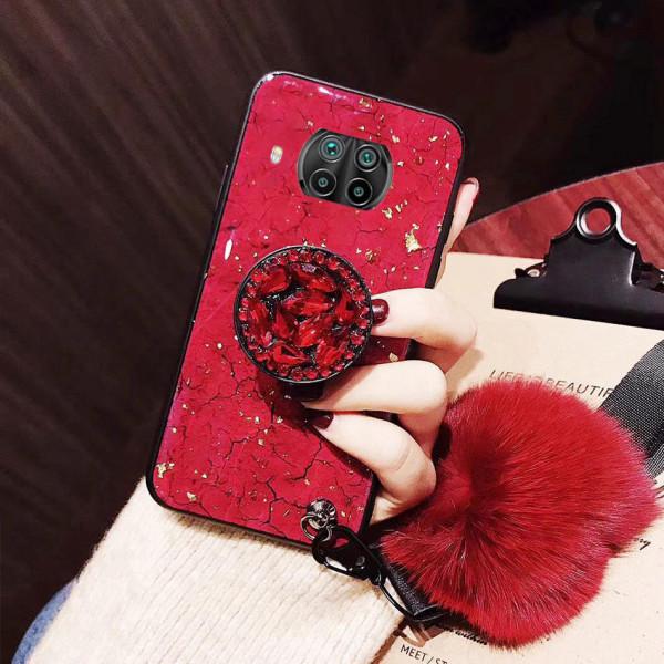 Силиконовый чехол с попсокетом и меховым помпоном для Xiaomi Mi 10T Lite Красный