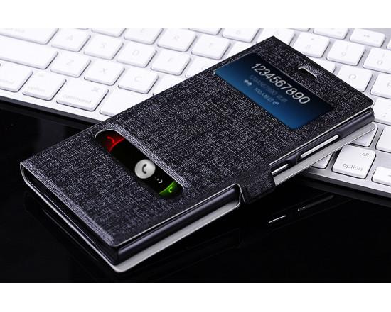 Чехол книжка для Xiaomi Red Rice/1s (С вырезом для часов и звонков) (чёрный)