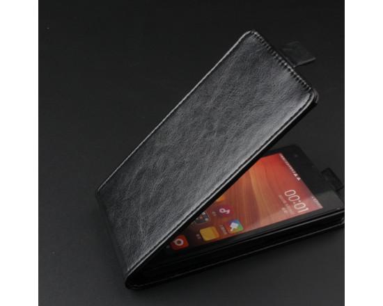 Откидной кожаный чехол-книжка для Xiaomi Red Rice/1s (чёрный)