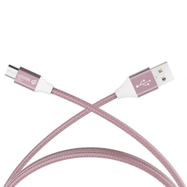 Micro USB кабель Wsken в нейлоновой оплётке 1m Rose