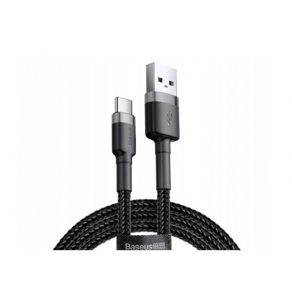 Кабель Baseus USB Cabel to USB-C Cafule 1m 3A Black (CATKLF-BG1)