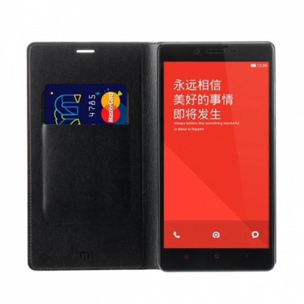 Оригинальный кожаный чехол-обложка для Xiaomi Redmi Note (чёрный)