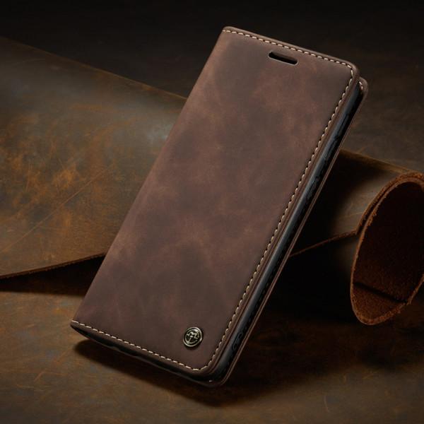 Чехол-книжка CaseMe из нубука для Xiaomi Mi 10T/Pro Тёмно-коричневый