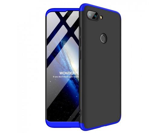 Матовый защитный чехол GKK 360° для Xiaomi Mi 8 Lite Чёрно-синий
