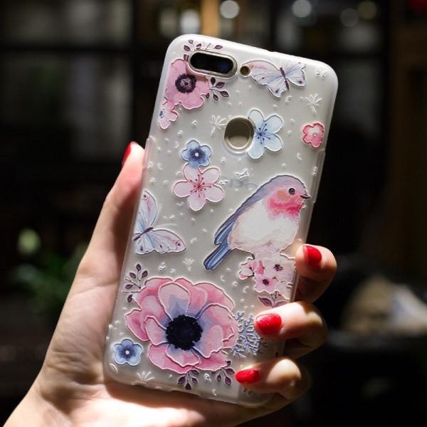 Рельефный силиконовый чехол для Xiaomi Mi 8 Lite с картинкой Цветы и птица