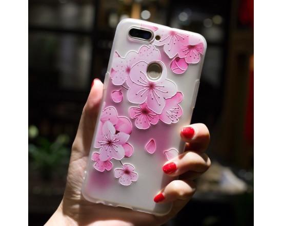 Рельефный силиконовый чехол для Xiaomi Redmi 6 с картинкой Цвет вишни