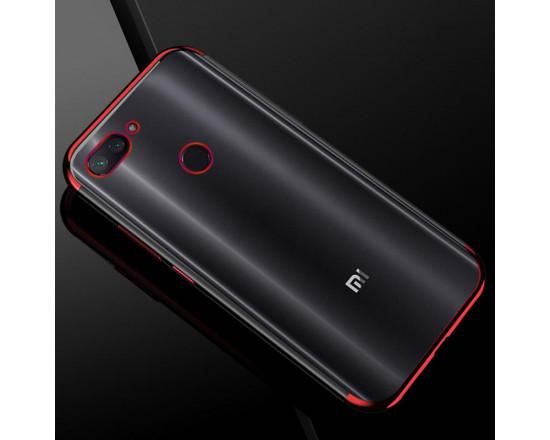 Силиконовый чехол с цветными рамками для Xiaomi Mi 8 Lite Красный
