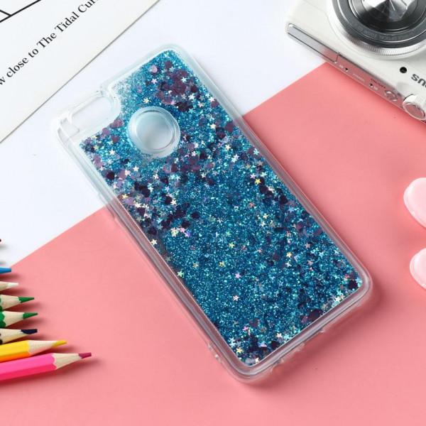Силиконовый чехол с жидким глиттером для Xiaomi Mi 8 Lite Синий