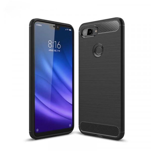Силиконовый чехол с карбоновой вставкой для Xiaomi Mi 8 Lite Черный