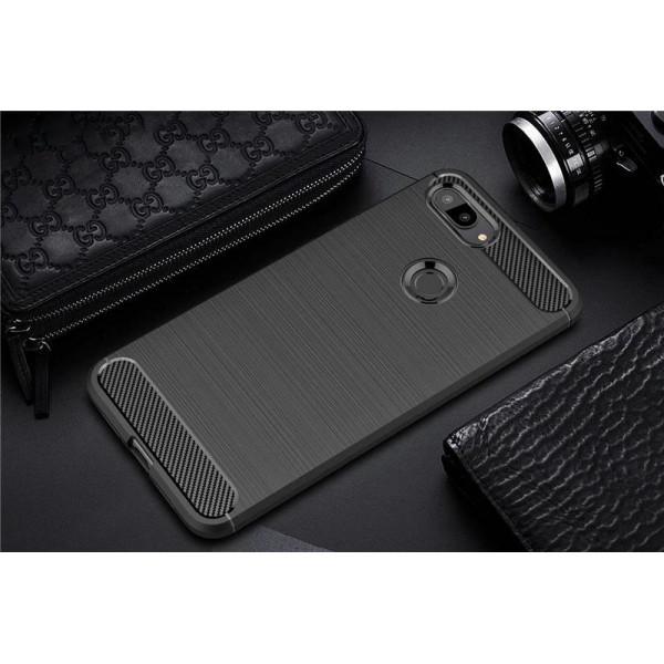 Силиконовый бампер Ipaky с карбоновыми вставками для Xiaomi Mi 8 Lite (черный)