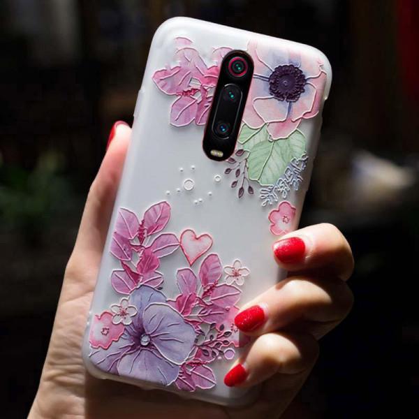 Рельефный силиконовый чехол для Xiaomi Mi 9T/Pro с картинкой Цветочная композиция