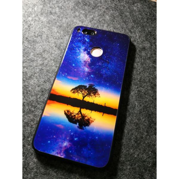 Глянцевый силиконовый бампер для Xiaomi Mi A1 Дерево и закат