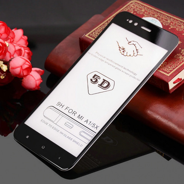 Защитное стекло с полным покрытием 5D для телефона Xiaomi Mi A1