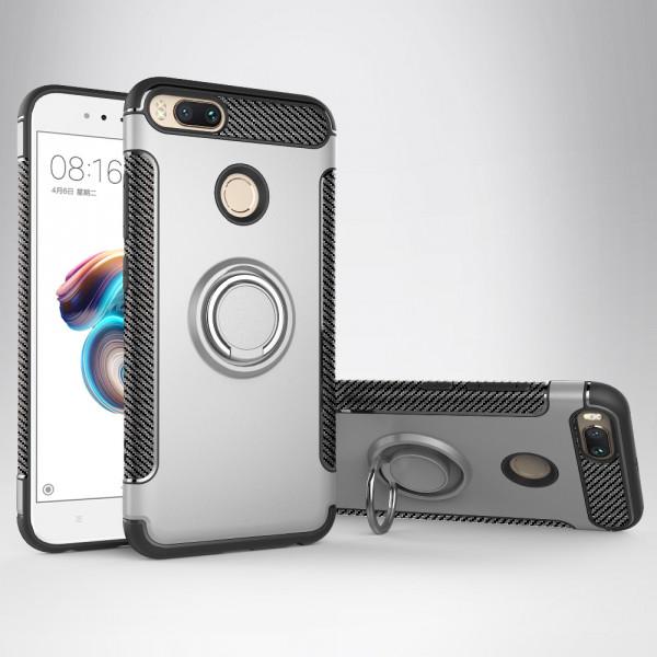 Противоударный бампер для Xiaomi Mi A1 с кольцом-держателем Серебристый