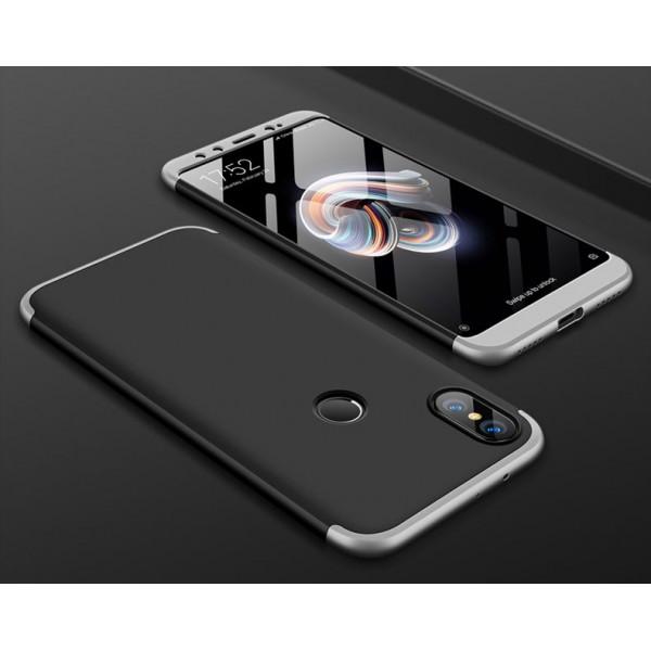 Матовый защитный чехол GKK 360° для Xiaomi Mi A2 Чёрно-серебристый
