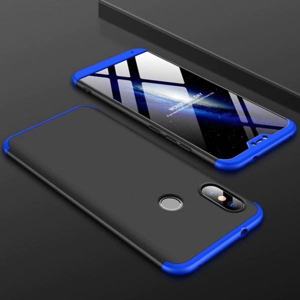 Матовый защитный чехол GKK 360° для Xiaomi Mi A2 Lite Черно-синий