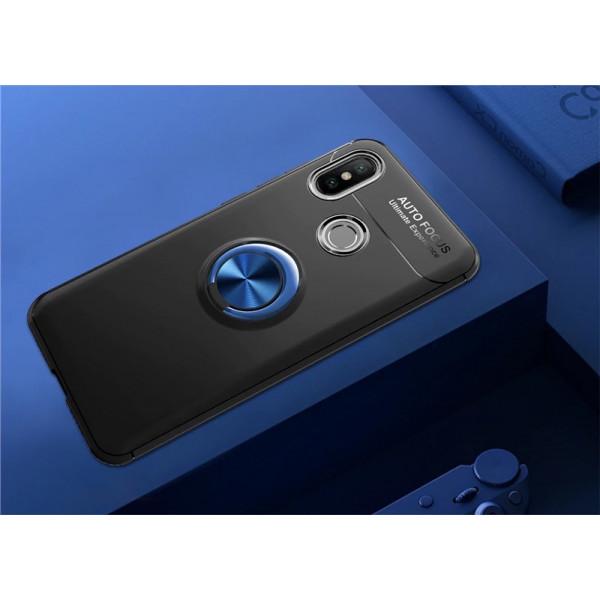 Силиконовый бампер для Xiaomi Mi A2 Lite с кольцом-держателем Синий