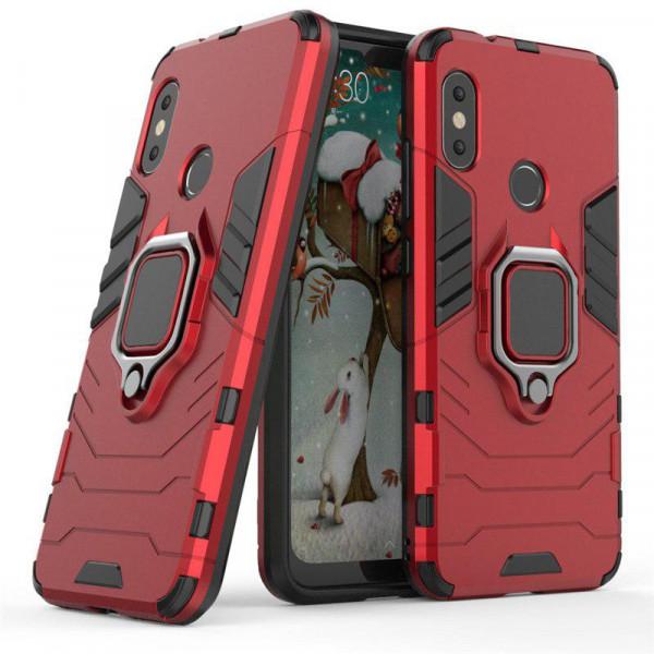 Защитный бампер IronMan для Xiaomi Mi A2 Lite с кольцом-держателем Красный
