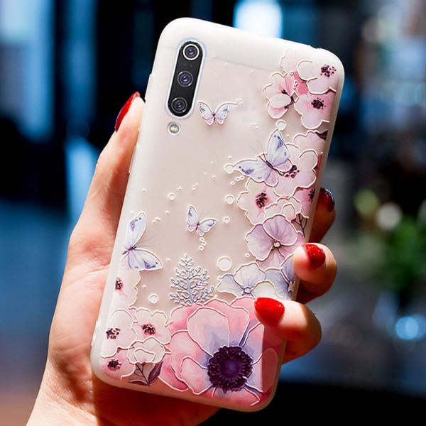 Рельефный силиконовый чехол для Samsung A30s/A50/A50s с картинкой Цветы и бабочки