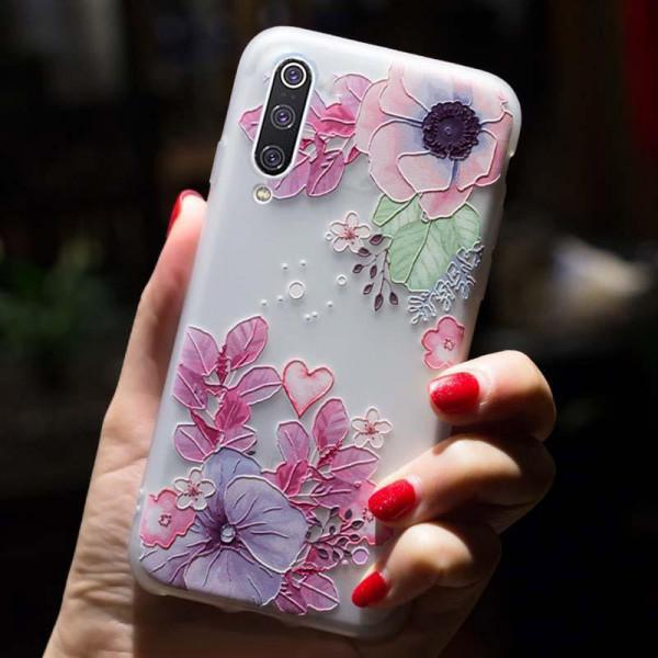 Рельефный силиконовый чехол для Samsung A70 с картинкой Цветочная композиция