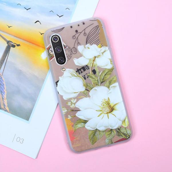 Рельефный силиконовый чехол для Samsung A30s/A50/A50s с картинкой Белые цветы