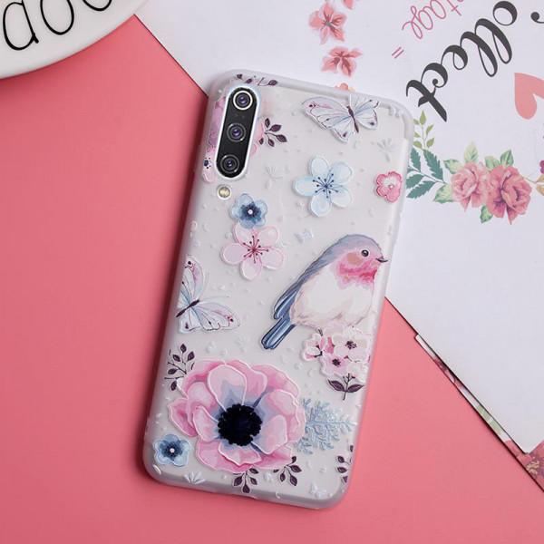 Рельефный силиконовый чехол для Xiaomi Mi A3 с картинкой Цветы и птичка