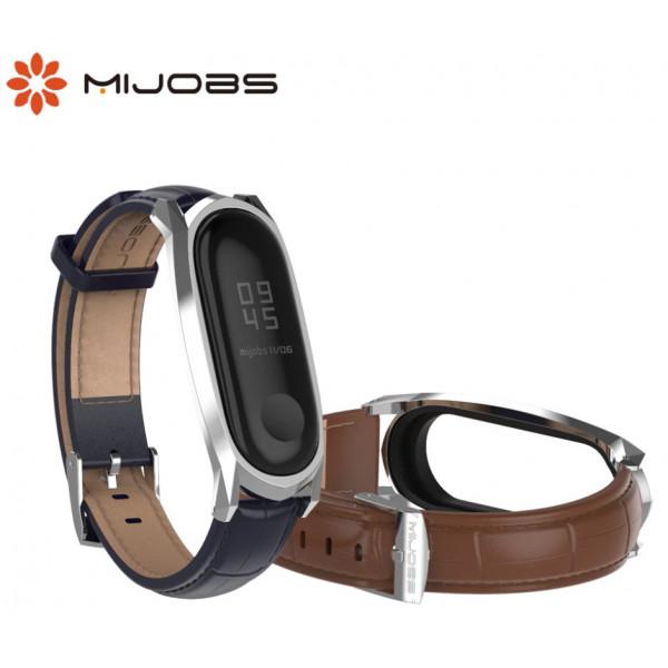 Ремешок MiJobs кожаный GT для Xiaomi Mi Band 3/4