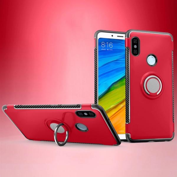 Противоударный бампер для Xiaomi Redmi S2 с кольцом-держателем Красный