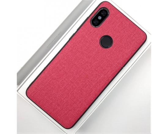 Силиконовый чехол с текстильным покрытием для Xiaomi Redmi S2 Красный