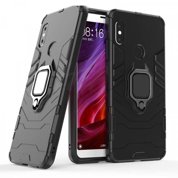 Защитный бампер IronMan для Xiaomi Mi A2 Lite с кольцом-держателем Черный