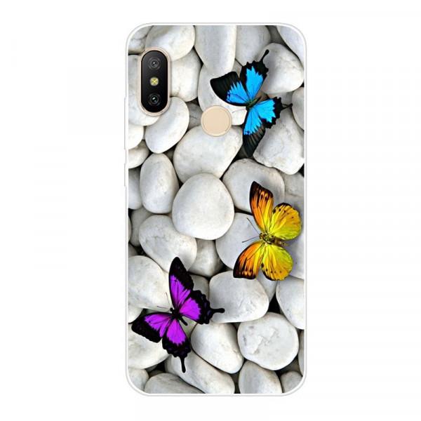 Силиконовый чехол для Xiaomi Mi A2 Lite с картинкой Бабочки на камнях