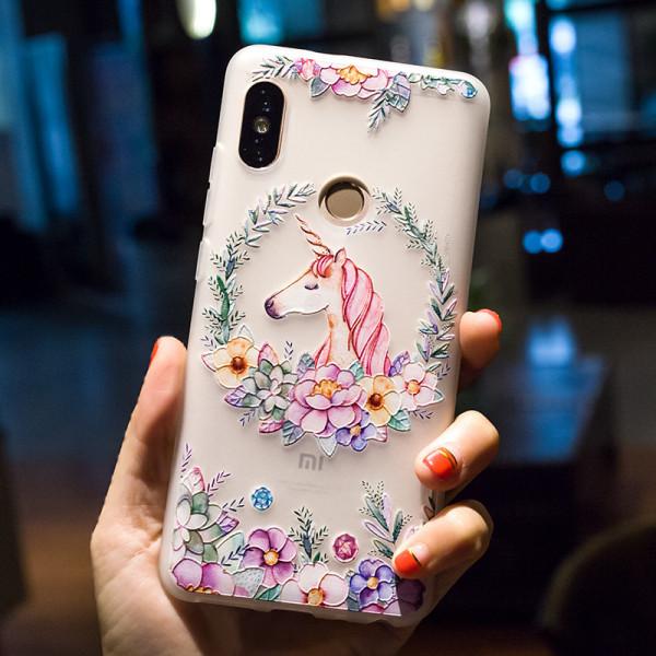 Рельефный силиконовый чехол для Xiaomi Redmi Note 5 с картинкой Единорог