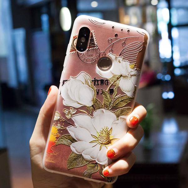 Рельефный силиконовый чехол для Xiaomi Redmi Note 6 Pro с картинкой Белые цветы