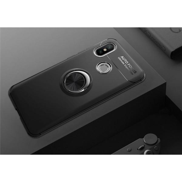 Силиконовый бампер для Xiaomi Mi A2 Lite с кольцом-держателем Черный