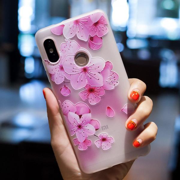 Рельефный силиконовый чехол для Xiaomi Mi A1 с картинкой Цвет вишни