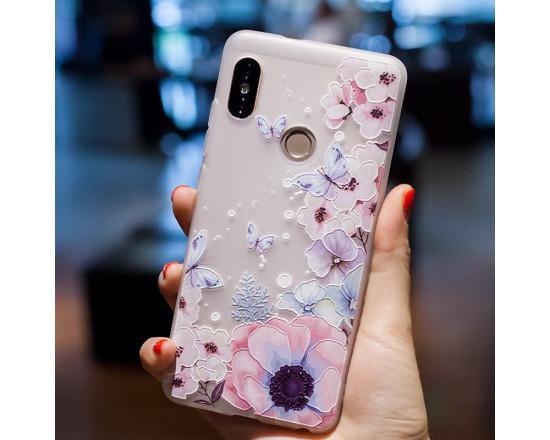 Рельефный силиконовый чехол для Xiaomi Redmi S2 с картинкой Цветы и бабочки