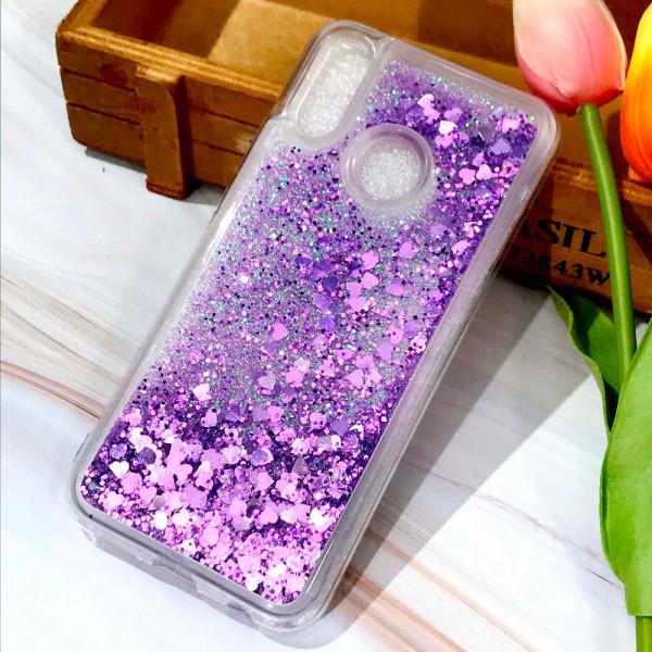 Силиконовый чехол с жидким глиттером для Samsung A10s Фиолетовый