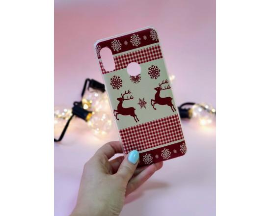 Пластиковый бампер с новогодним рисунком для Xiaomi Redmi Note 5/Pro Олени