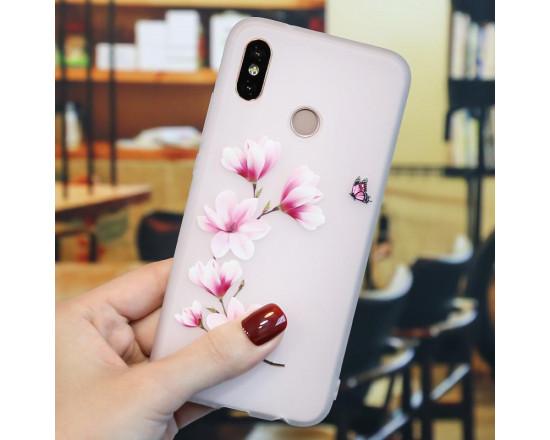 Рельефный силиконовый чехол для Xiaomi Mi A2 с картинкой Веточка вишни