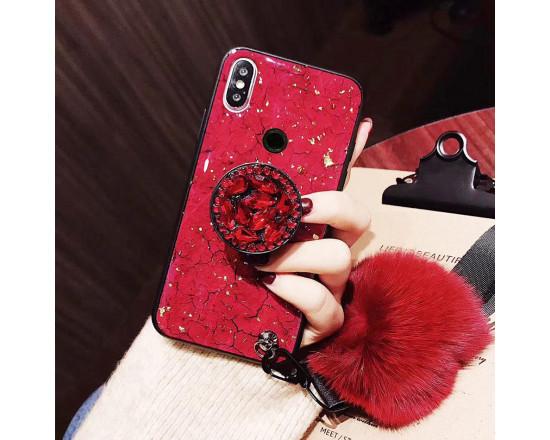 Силиконовый чехол с попсокетом и меховым помпоном для Xiaomi Redmi Note 6 Pro Красный