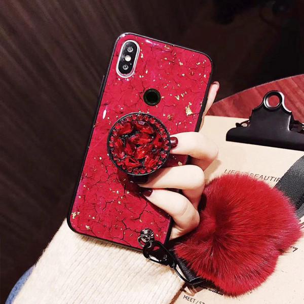 Силиконовый чехол с попсокетом и меховым помпоном для Xiaomi Mi 8 Красный