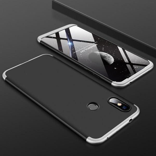 Матовый защитный чехол GKK 360° для Xiaomi Redmi Note 6 Pro Черно-серебристый