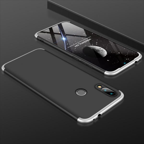 Матовый защитный чехол GKK 360° для Xiaomi Redmi 7 Чёрно-серебристый