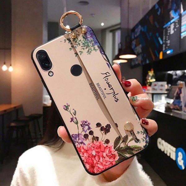 Силиконовый чехол для Xiaomi Redmi Note 7 с ремешком-подставкой Flowerplus