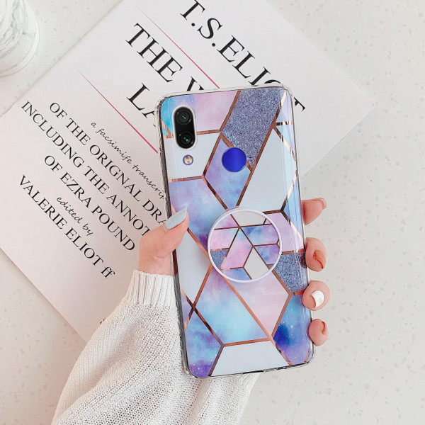 Силиконовый чехол с принтом и попсокетом для Samsung A10s - Голубой