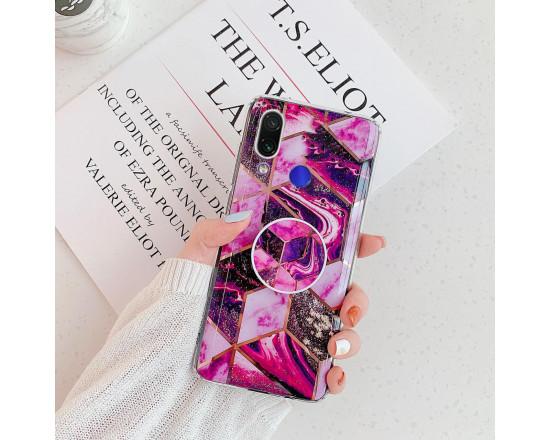 Силиконовый чехол с принтом и попсокетом для Xiaomi Redmi Note 7 Пурпурный