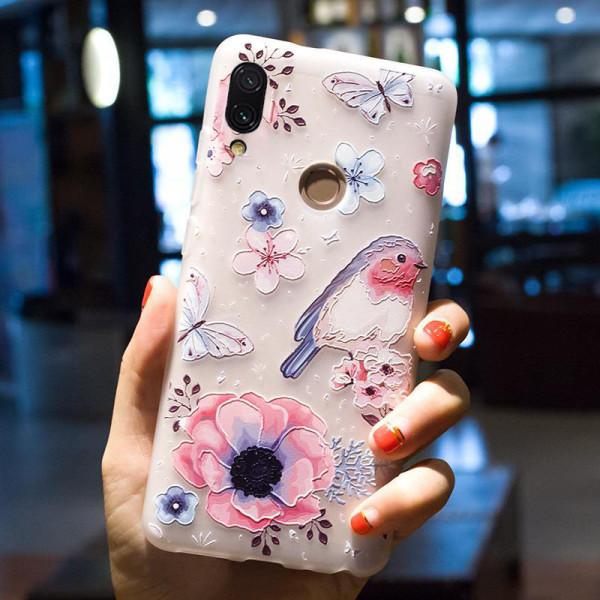 Рельефный силиконовый чехол для Xiaomi Redmi 7 с картинкой Цветы и птица