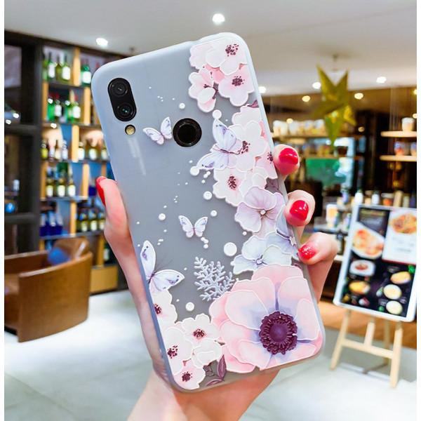 Рельефный силиконовый чехол для Xiaomi Redmi Note 7 с картинкой Цветы и бабочки