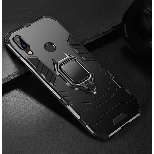 Защитный бампер IronMan для Xiaomi Redmi Note 7 с кольцом-держателем Черный